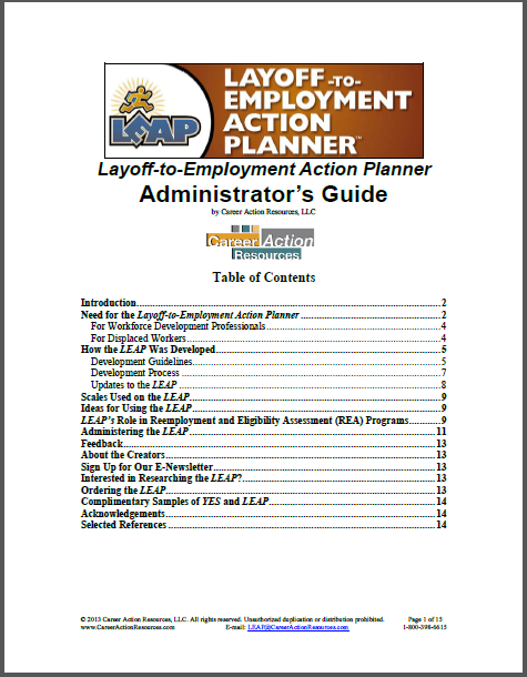 Layoff-to-Employment Action Planner (Administrator's Guide)