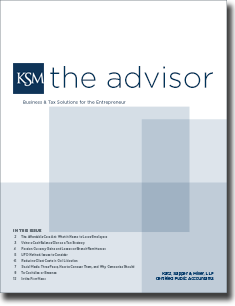 Katz, Sapper & Miller's The Advisor Bi-Annual Newsletter - Issue 1, 2013